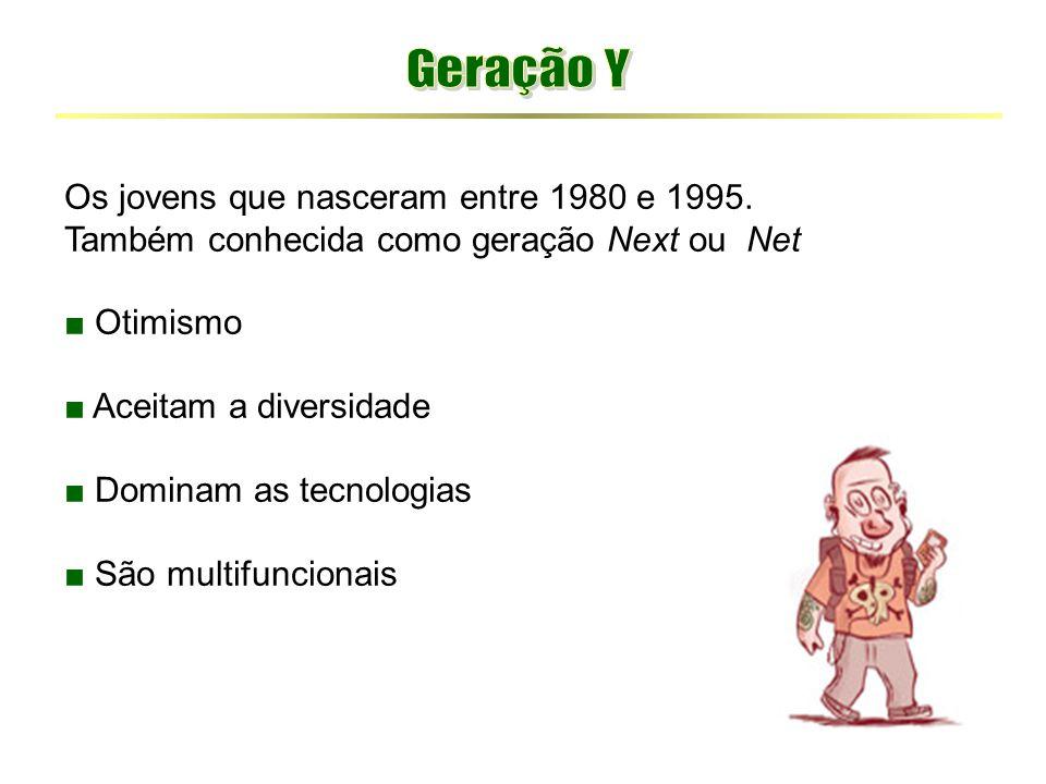 Geração Y Os jovens que nasceram entre 1980 e 1995.