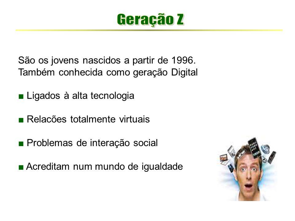 Geração Z São os jovens nascidos a partir de 1996.