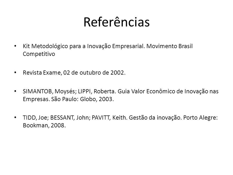 Referências Kit Metodológico para a Inovação Empresarial. Movimento Brasil Competitivo. Revista Exame, 02 de outubro de 2002.