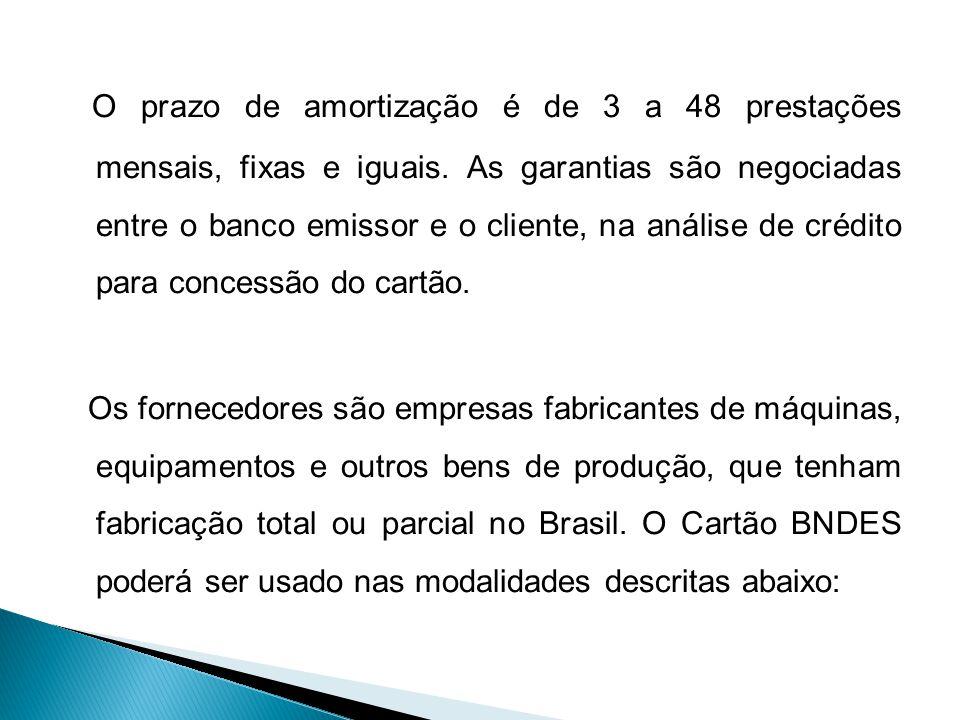 O prazo de amortização é de 3 a 48 prestações mensais, fixas e iguais
