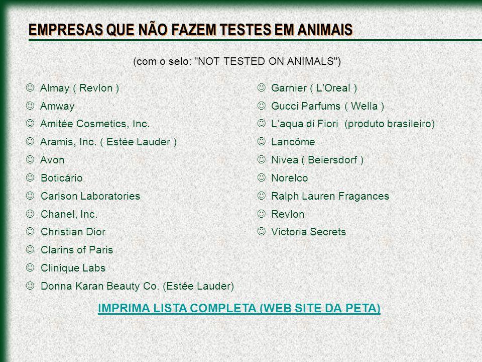 IMPRIMA LISTA COMPLETA (WEB SITE DA PETA)