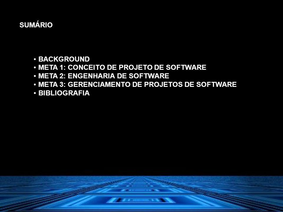 SUMÁRIO BACKGROUND. META 1: CONCEITO DE PROJETO DE SOFTWARE. META 2: ENGENHARIA DE SOFTWARE. META 3: GERENCIAMENTO DE PROJETOS DE SOFTWARE.