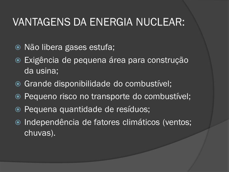 VANTAGENS DA ENERGIA NUCLEAR: