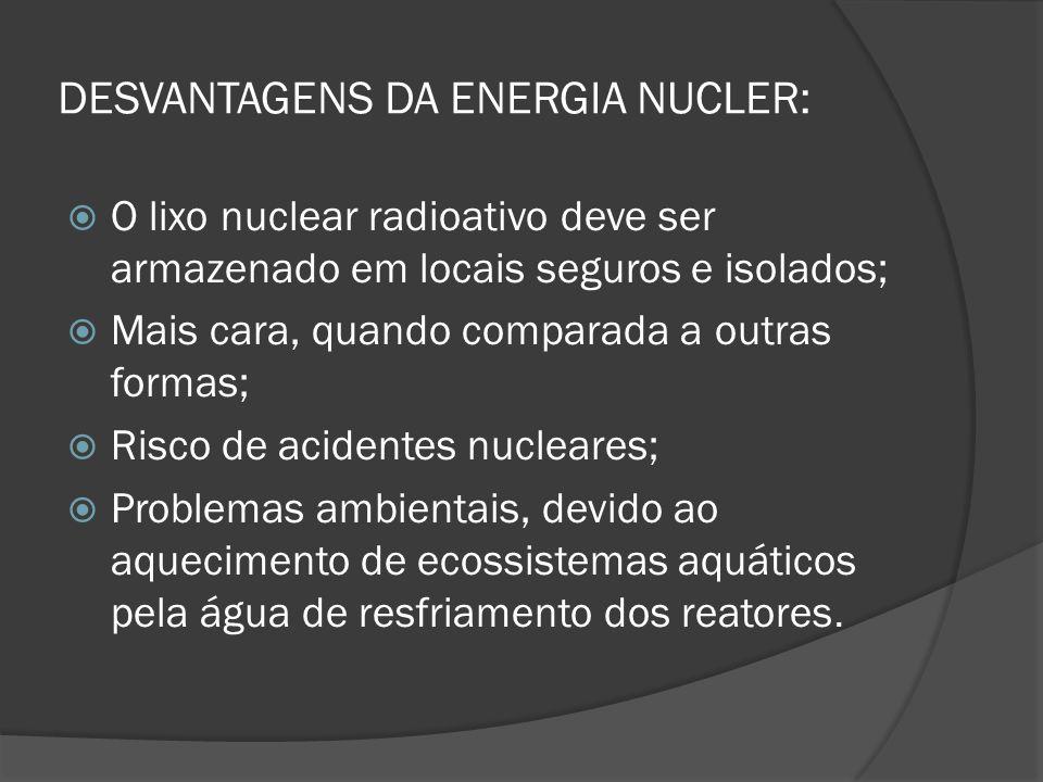 DESVANTAGENS DA ENERGIA NUCLER: