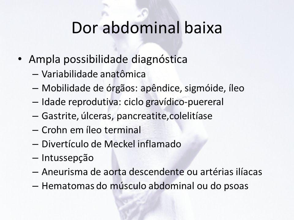 Dor abdominal baixa Ampla possibilidade diagnóstica