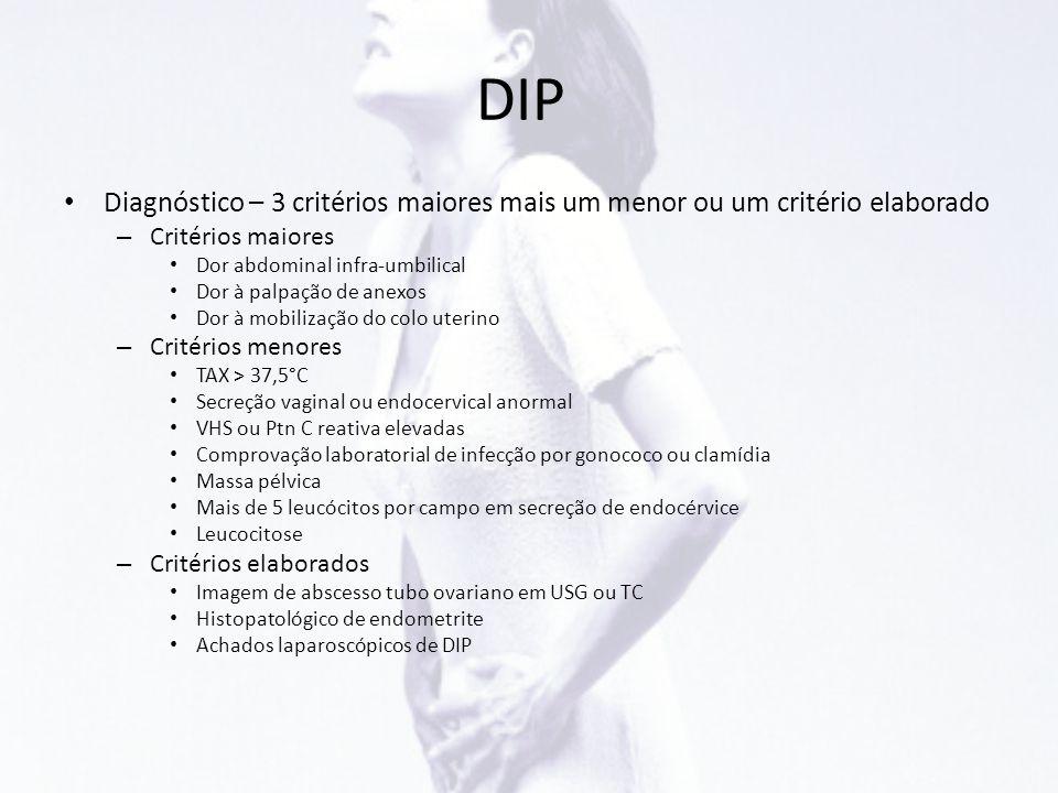 DIP Diagnóstico – 3 critérios maiores mais um menor ou um critério elaborado. Critérios maiores. Dor abdominal infra-umbilical.