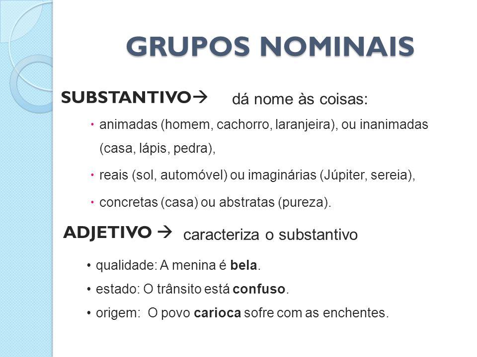 GRUPOS NOMINAIS SUBSTANTIVO ADJETIVO  dá nome às coisas: