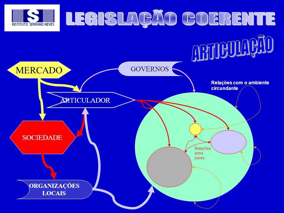 LEGISLAÇÃO COERENTE ARTICULAÇÃO MERCADO GOVERNOS ARTICULADOR SOCIEDADE
