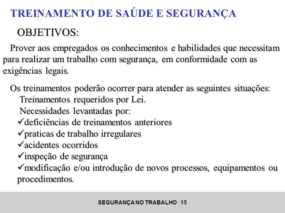 TREINAMENTO DE SAÚDE E SEGURANÇA