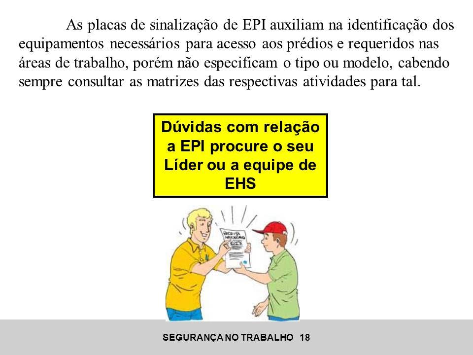 Dúvidas com relação a EPI procure o seu Líder ou a equipe de EHS