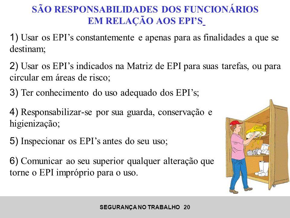 SÃO RESPONSABILIDADES DOS FUNCIONÁRIOS