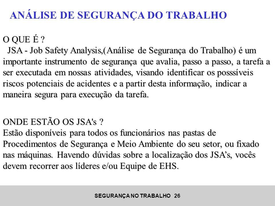 ANÁLISE DE SEGURANÇA DO TRABALHO