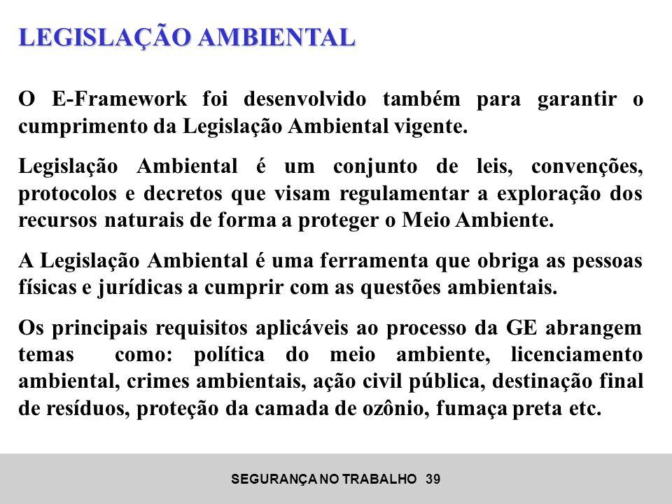 LEGISLAÇÃO AMBIENTAL O E-Framework foi desenvolvido também para garantir o cumprimento da Legislação Ambiental vigente.
