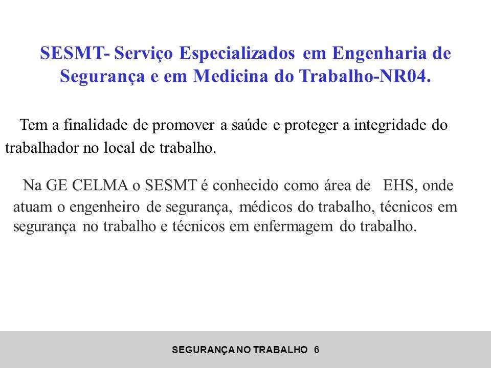 SESMT- Serviço Especializados em Engenharia de Segurança e em Medicina do Trabalho-NR04.