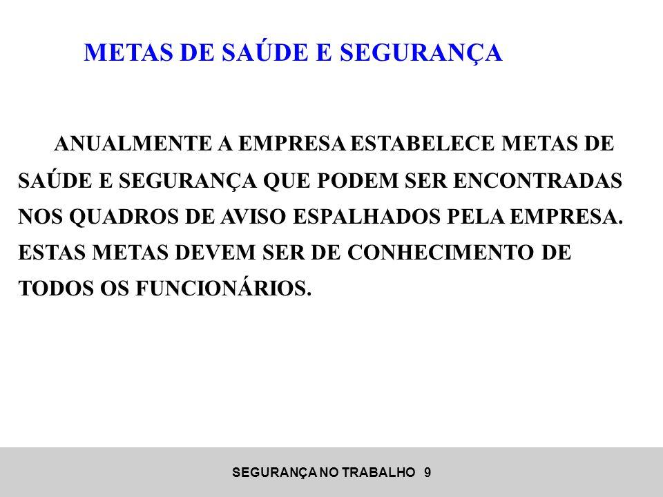 METAS DE SAÚDE E SEGURANÇA