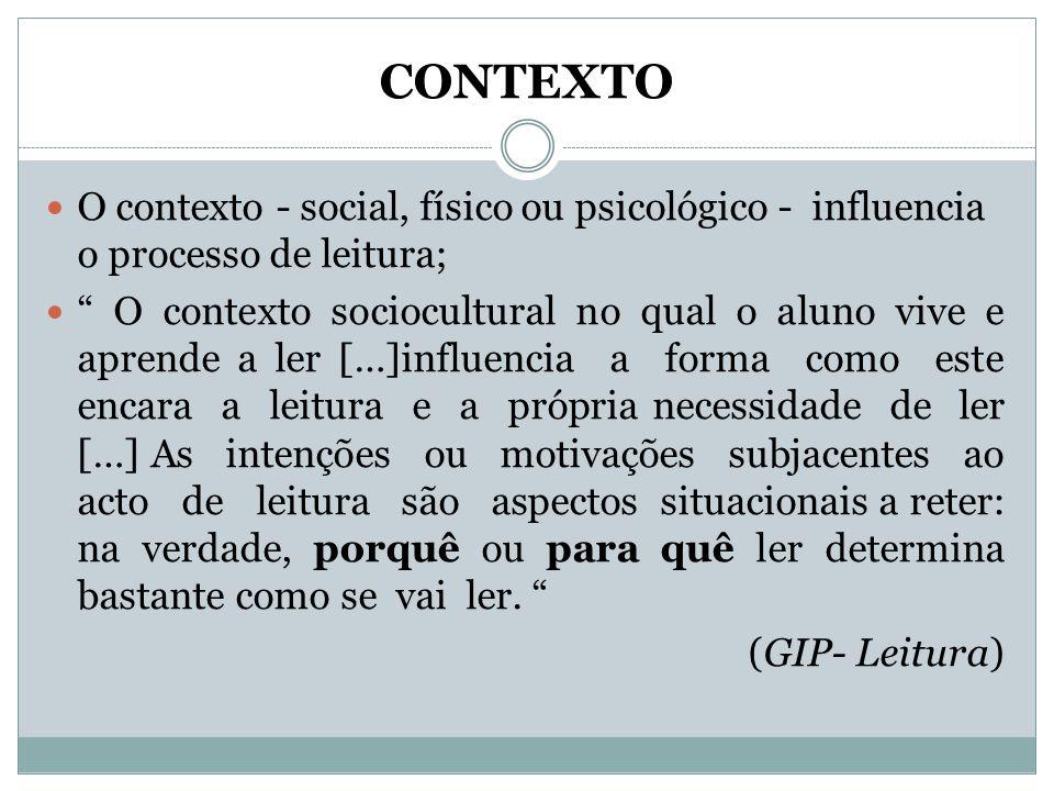 CONTEXTO O contexto - social, físico ou psicológico - influencia o processo de leitura;