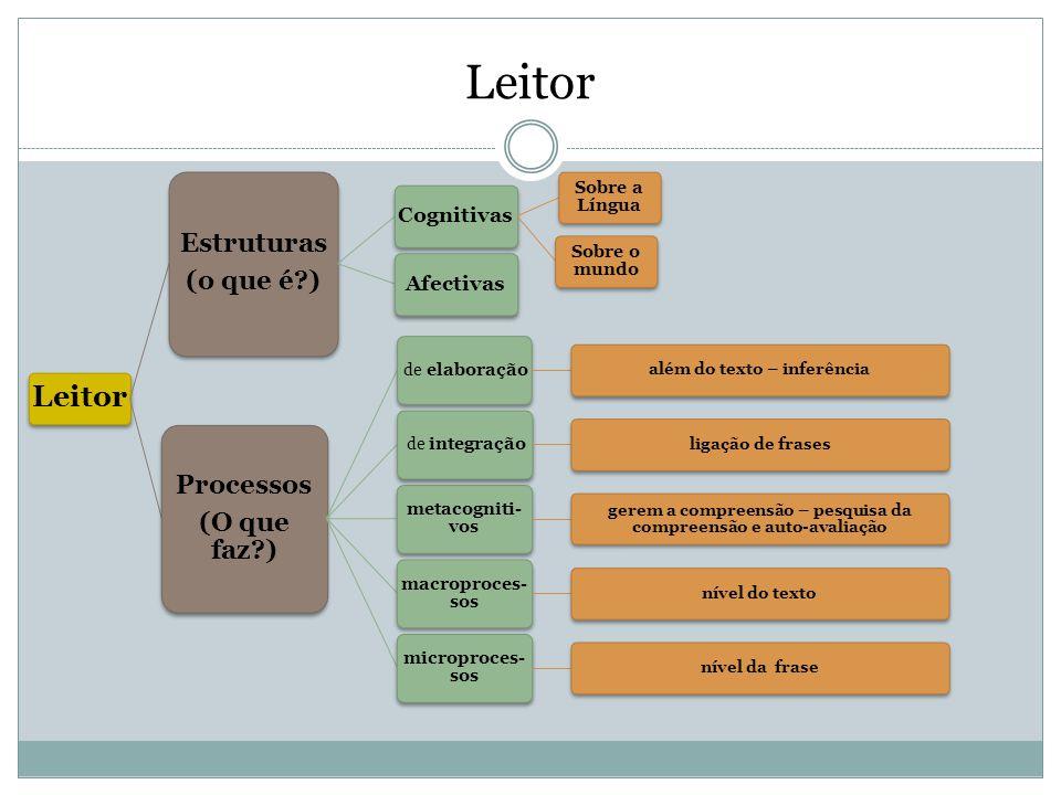 Leitor Leitor Estruturas (o que é ) Processos (O que faz ) Cognitivas