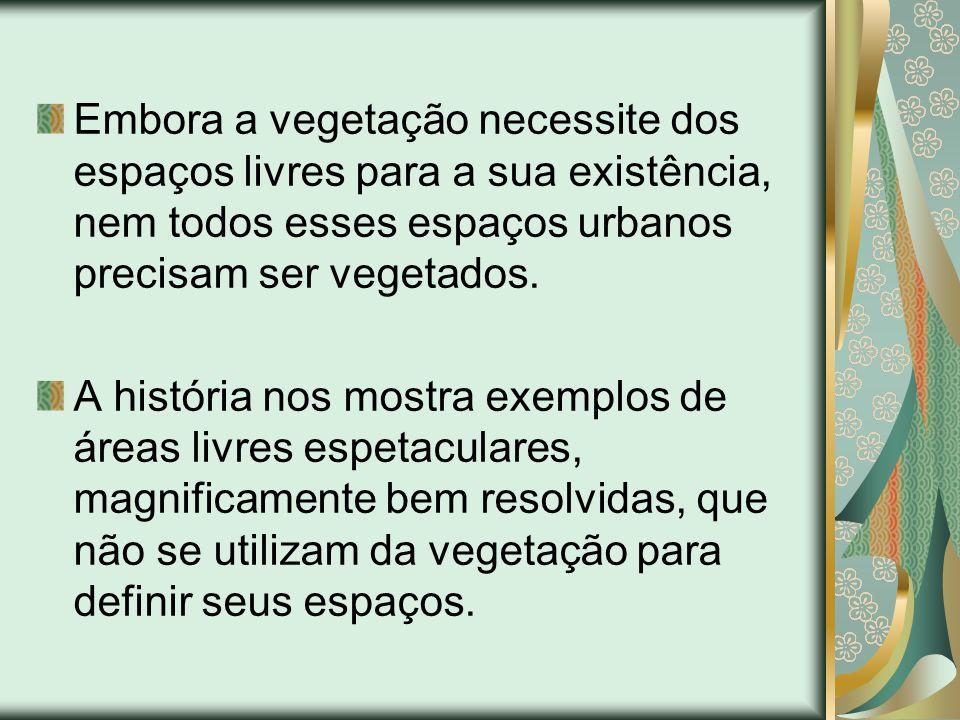 Embora a vegetação necessite dos espaços livres para a sua existência, nem todos esses espaços urbanos precisam ser vegetados.