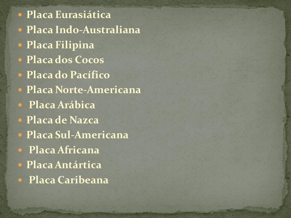 Placa Eurasiática Placa Indo-Australiana. Placa Filipina. Placa dos Cocos. Placa do Pacífico. Placa Norte-Americana.
