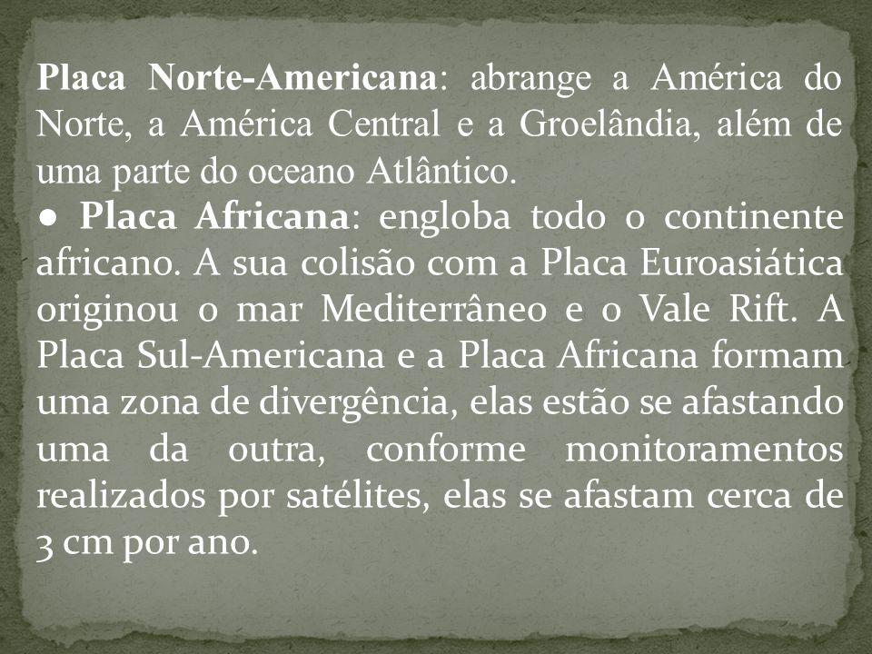 Placa Norte-Americana: abrange a América do Norte, a América Central e a Groelândia, além de uma parte do oceano Atlântico.