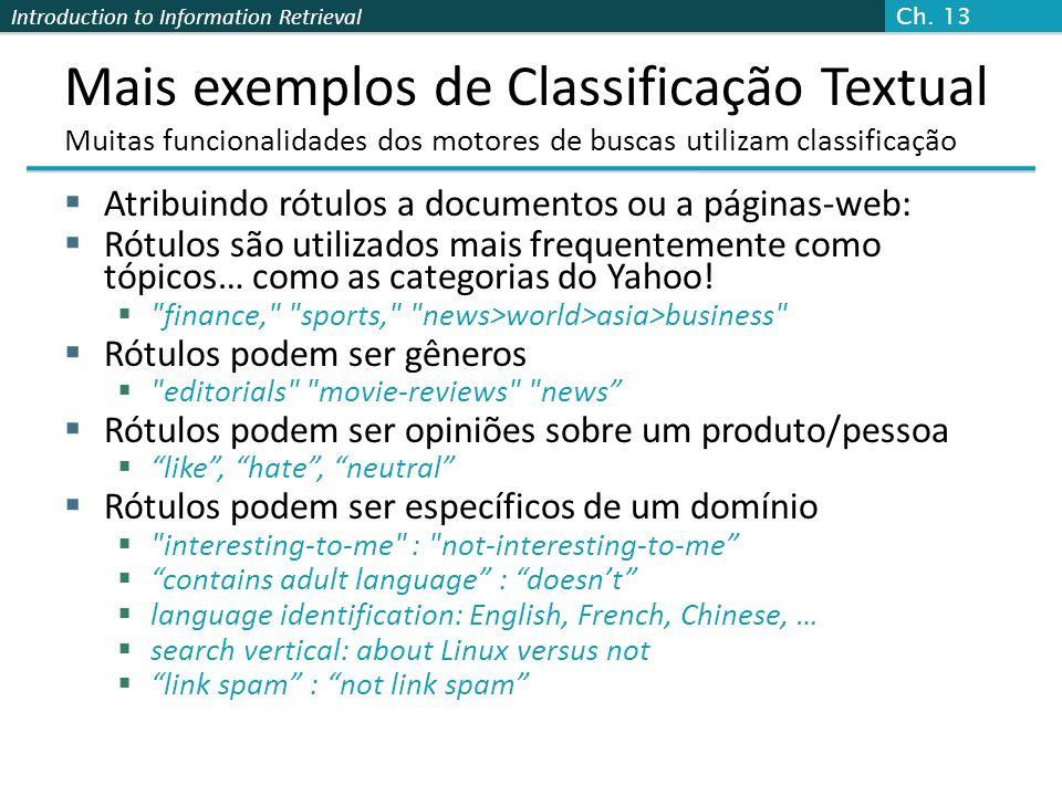Ch. 13 Mais exemplos de Classificação Textual Muitas funcionalidades dos motores de buscas utilizam classificação.