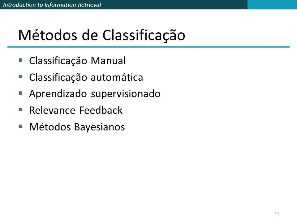 Métodos de Classificação