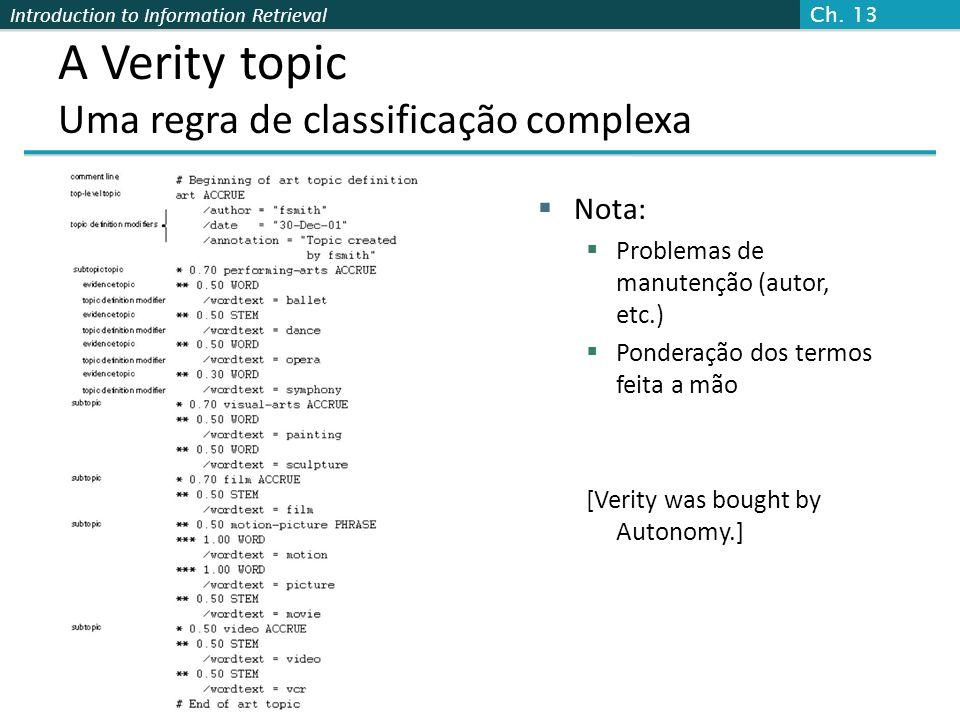 A Verity topic Uma regra de classificação complexa