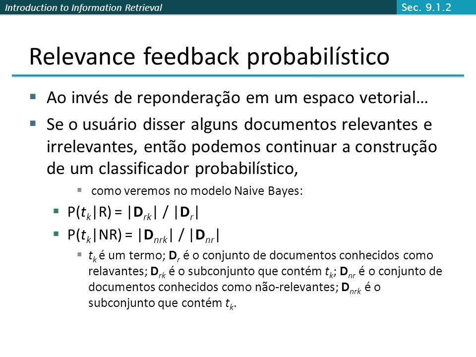 Relevance feedback probabilístico