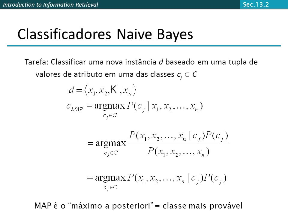 Classificadores Naive Bayes