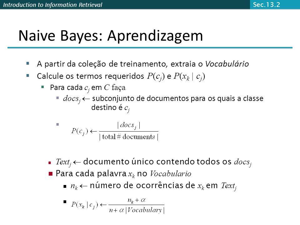 Naive Bayes: Aprendizagem