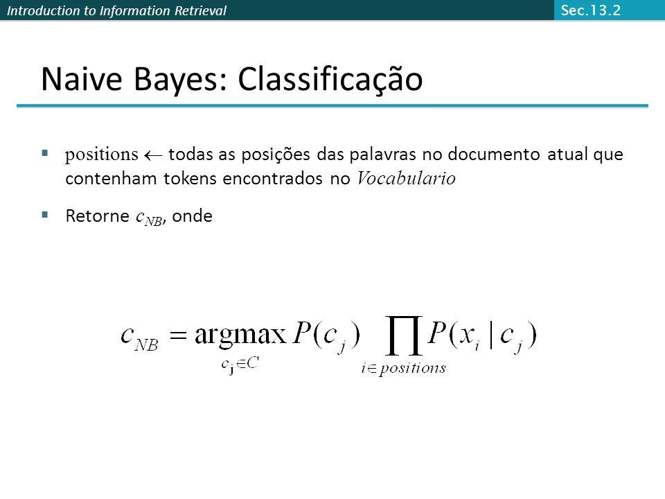 Naive Bayes: Classificação