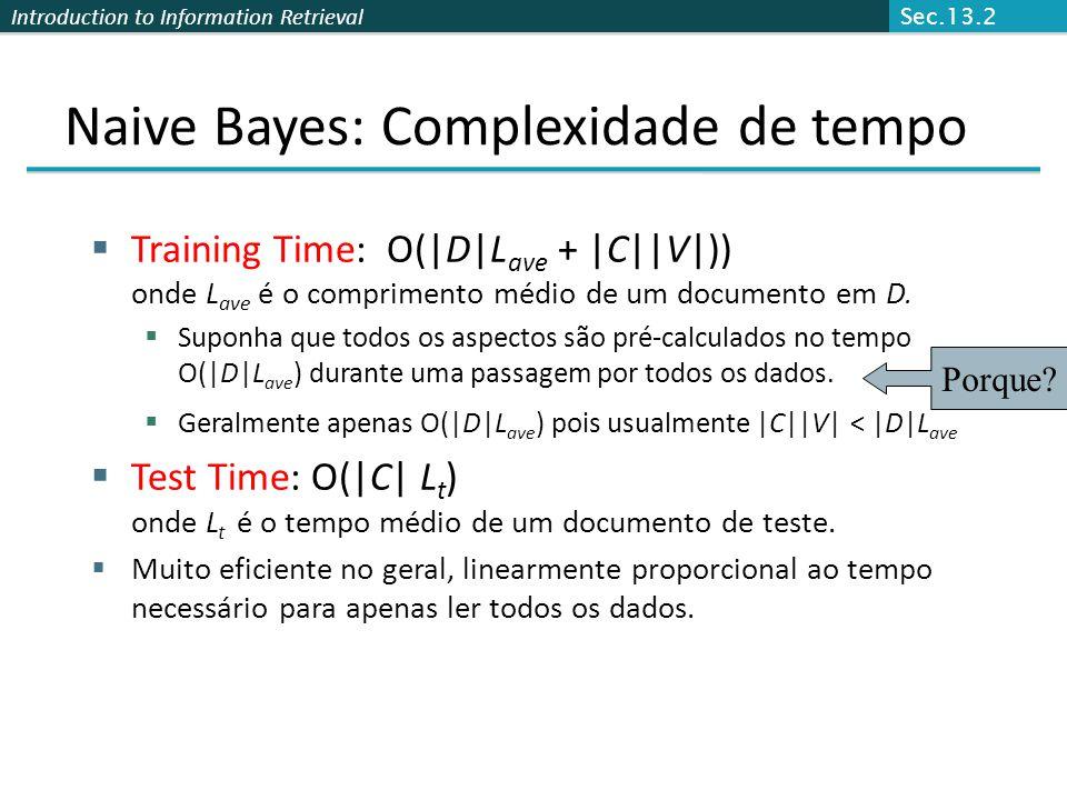 Naive Bayes: Complexidade de tempo