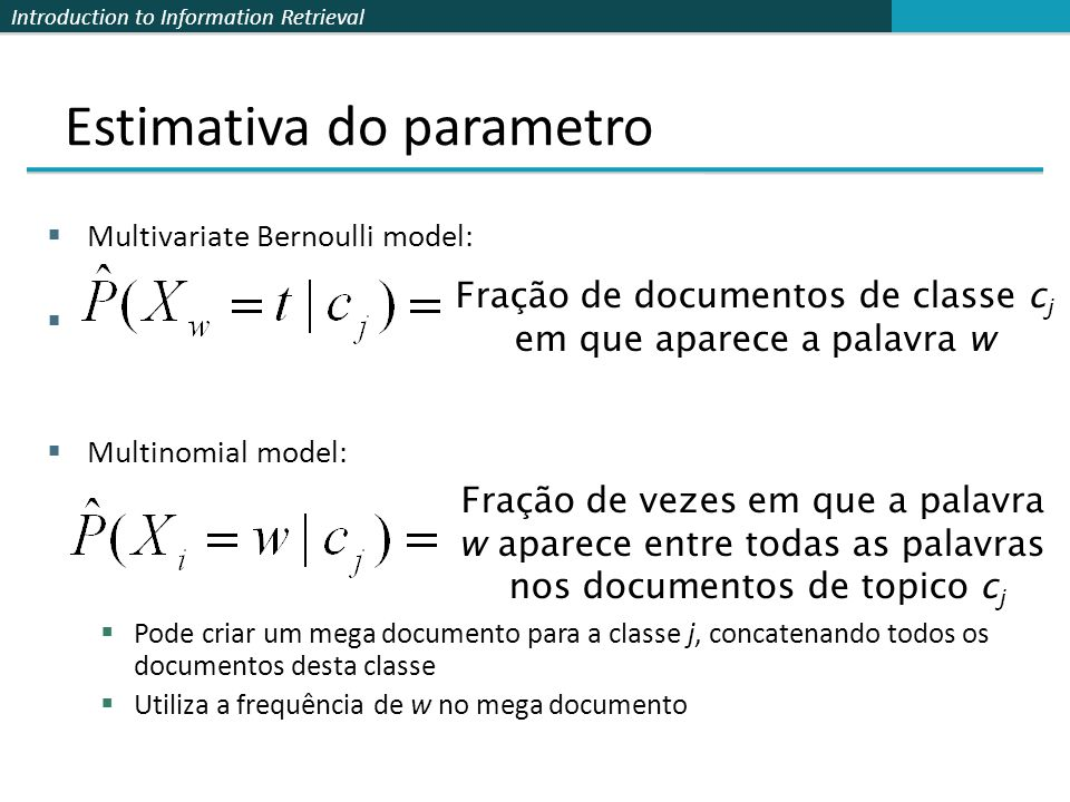 Estimativa do parametro