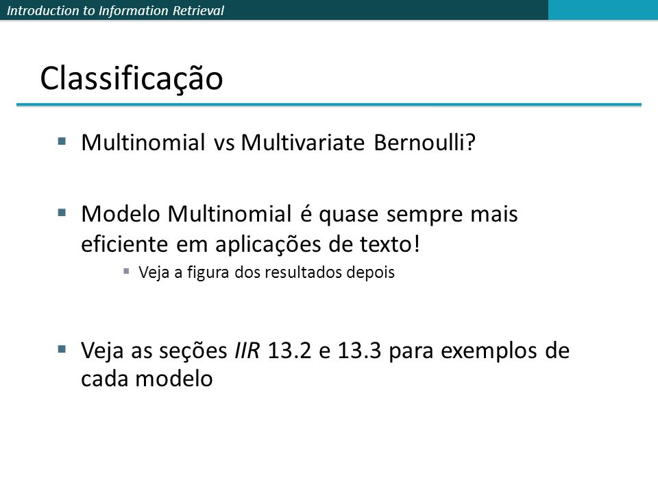 Classificação Multinomial vs Multivariate Bernoulli