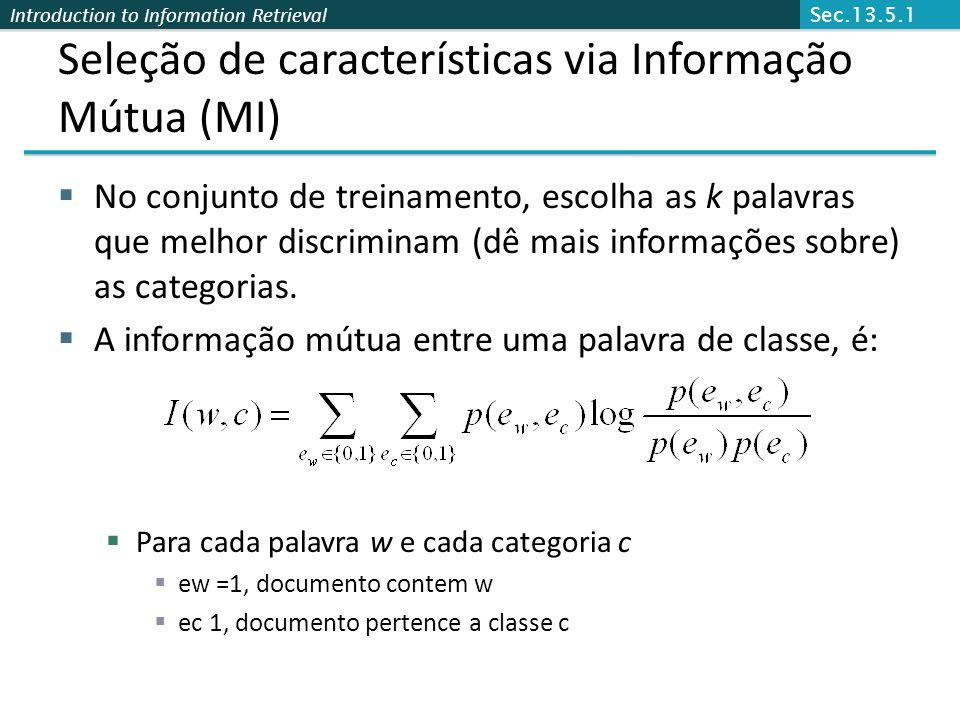 Seleção de características via Informação Mútua (MI)