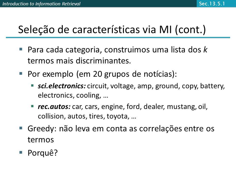 Seleção de características via MI (cont.)