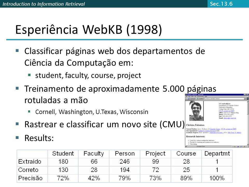 Sec.13.6 Esperiência WebKB (1998) Classificar páginas web dos departamentos de Ciência da Computação em: