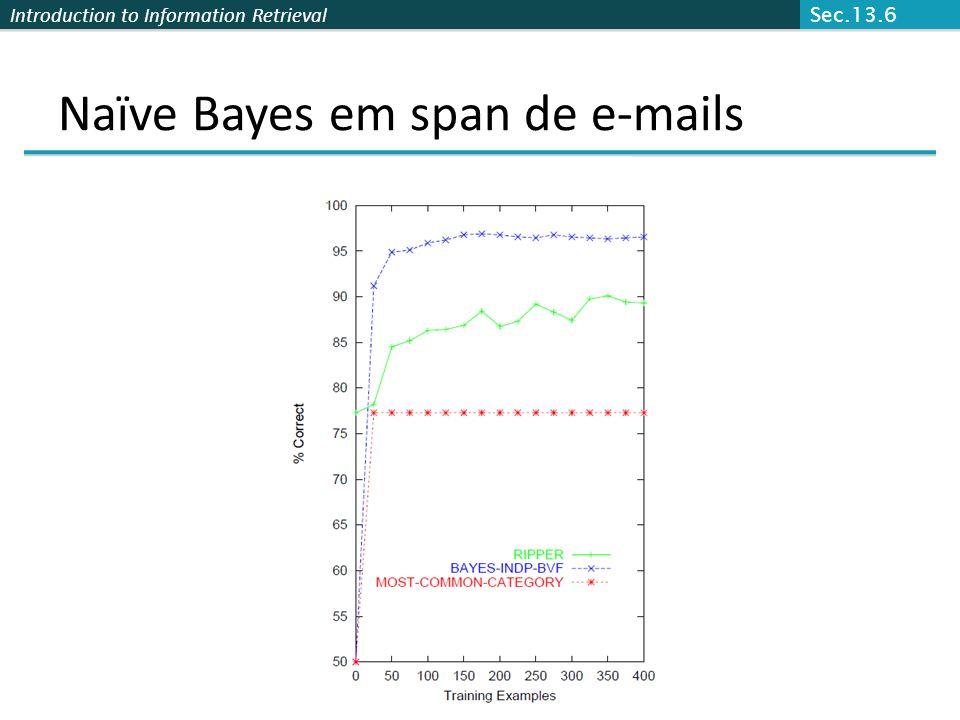 Naïve Bayes em span de e-mails
