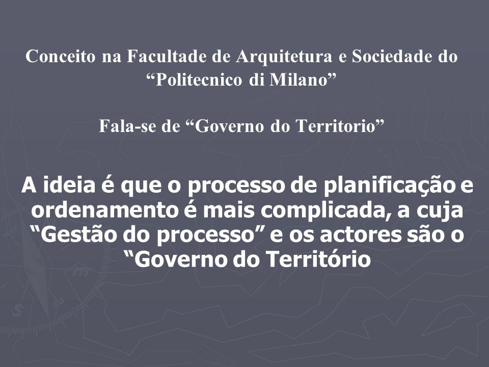 Conceito na Facultade de Arquitetura e Sociedade do Politecnico di Milano Fala-se de Governo do Territorio