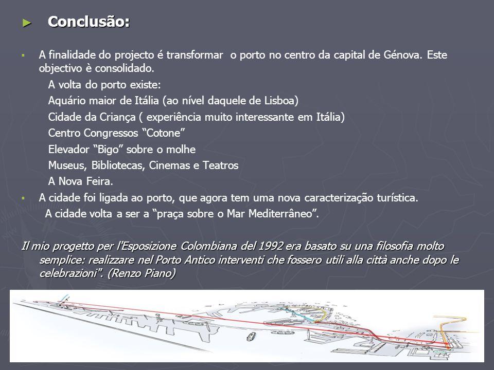 Conclusão: A finalidade do projecto é transformar o porto no centro da capital de Génova. Este objectivo è consolidado.
