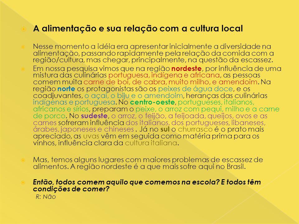 A alimentação e sua relação com a cultura local
