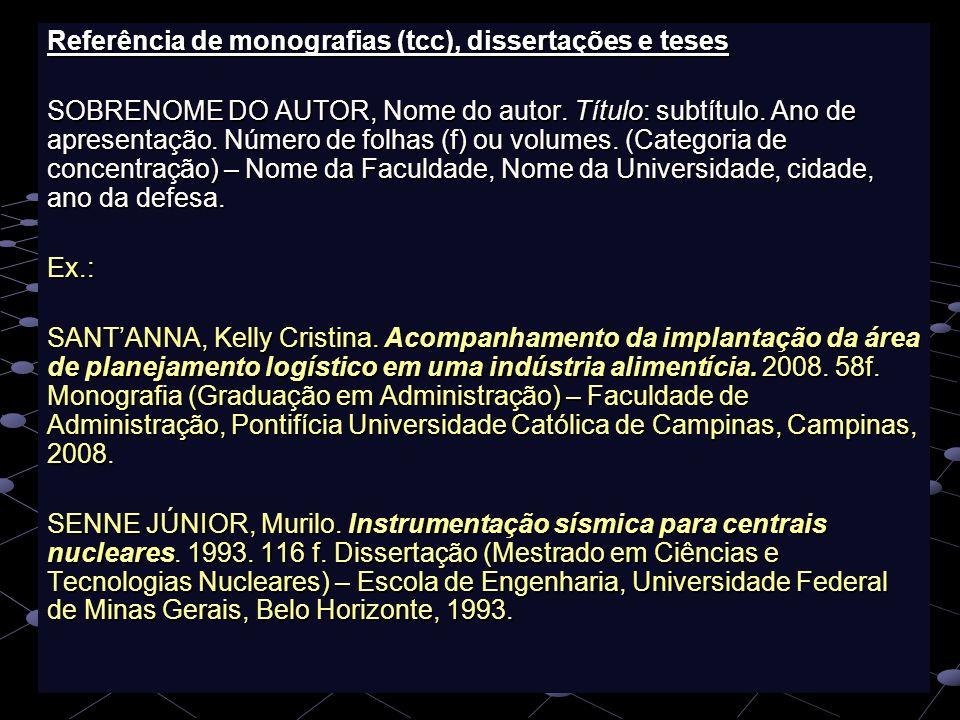 Referência de monografias (tcc), dissertações e teses