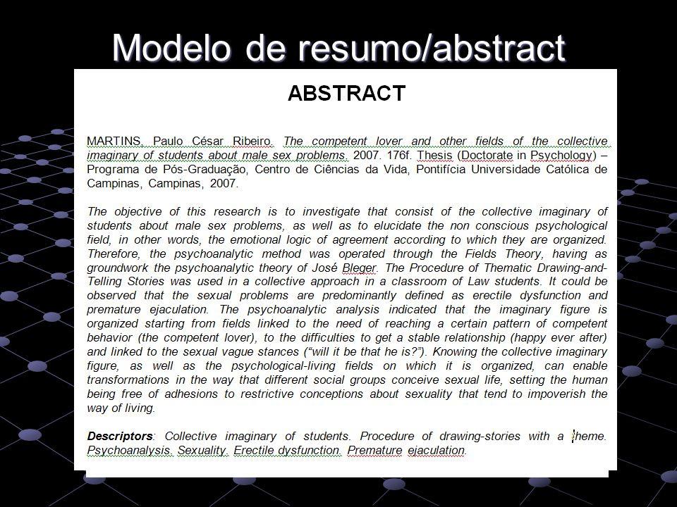 Modelo de resumo/abstract
