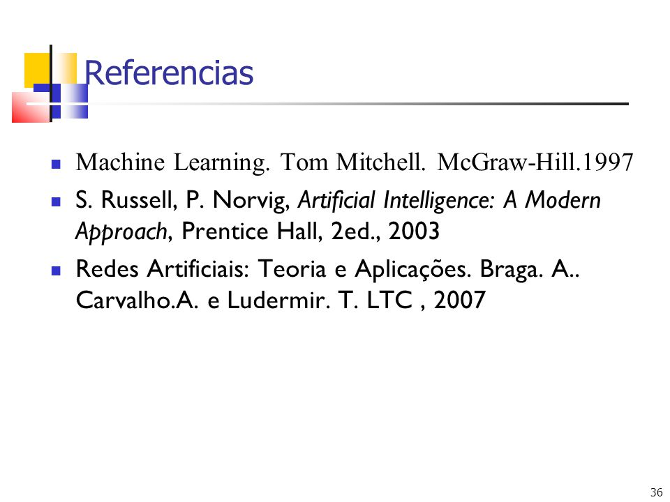 Referencias Machine Learning. Tom Mitchell. McGraw-Hill.1997