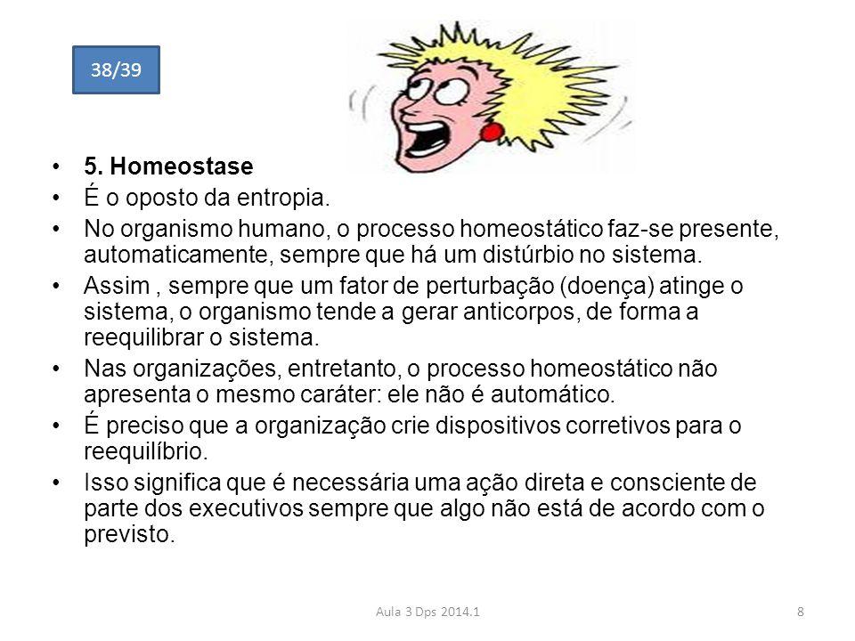 5. Homeostase É o oposto da entropia.