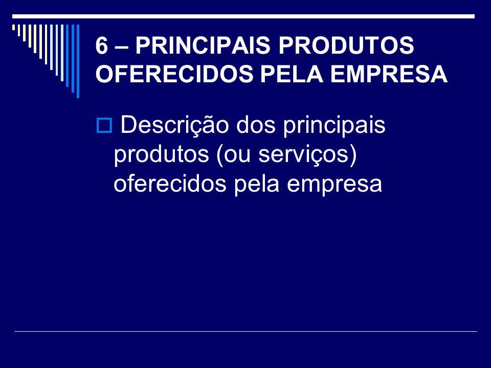 6 – PRINCIPAIS PRODUTOS OFERECIDOS PELA EMPRESA