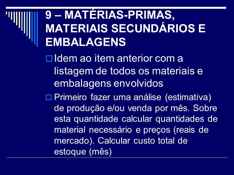 9 – MATÉRIAS-PRIMAS, MATERIAIS SECUNDÁRIOS E EMBALAGENS