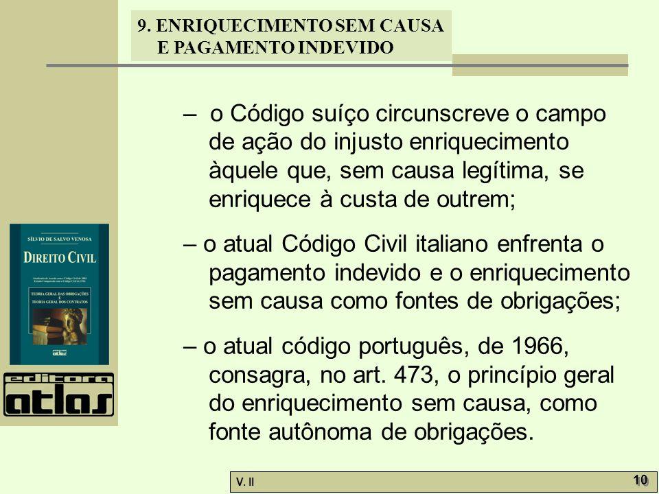 – o Código suíço circunscreve o campo de ação do injusto enriquecimento àquele que, sem causa legítima, se enriquece à custa de outrem;