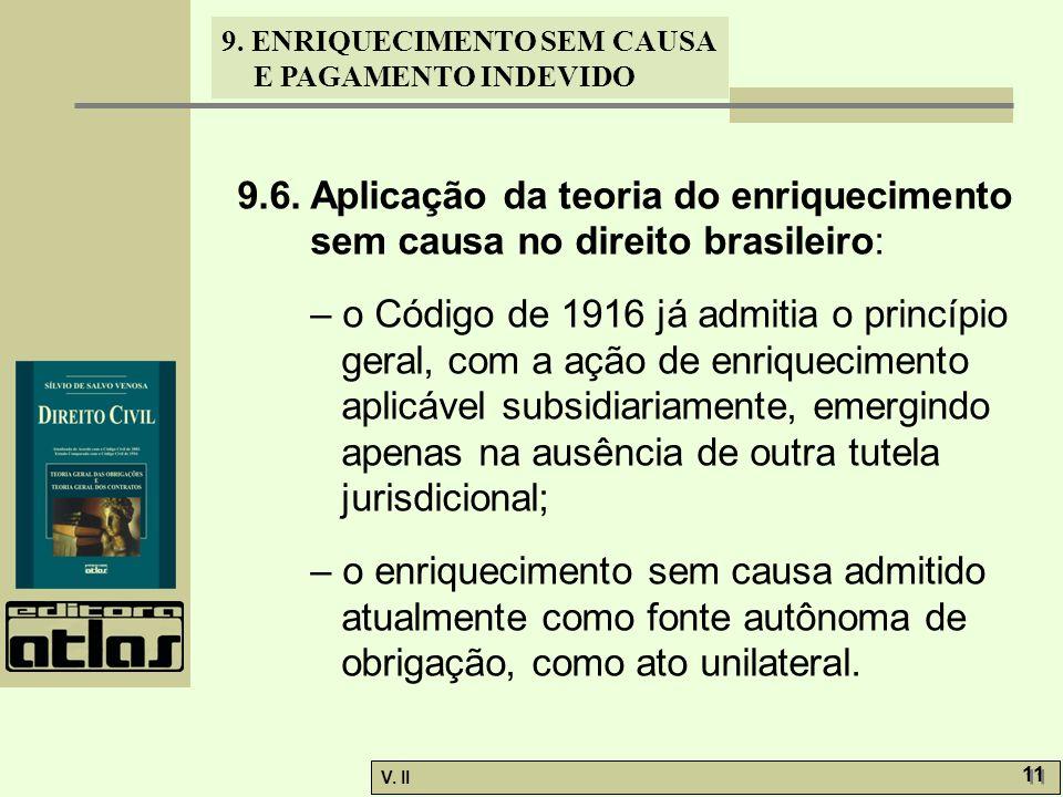 9.6. Aplicação da teoria do enriquecimento sem causa no direito brasileiro: