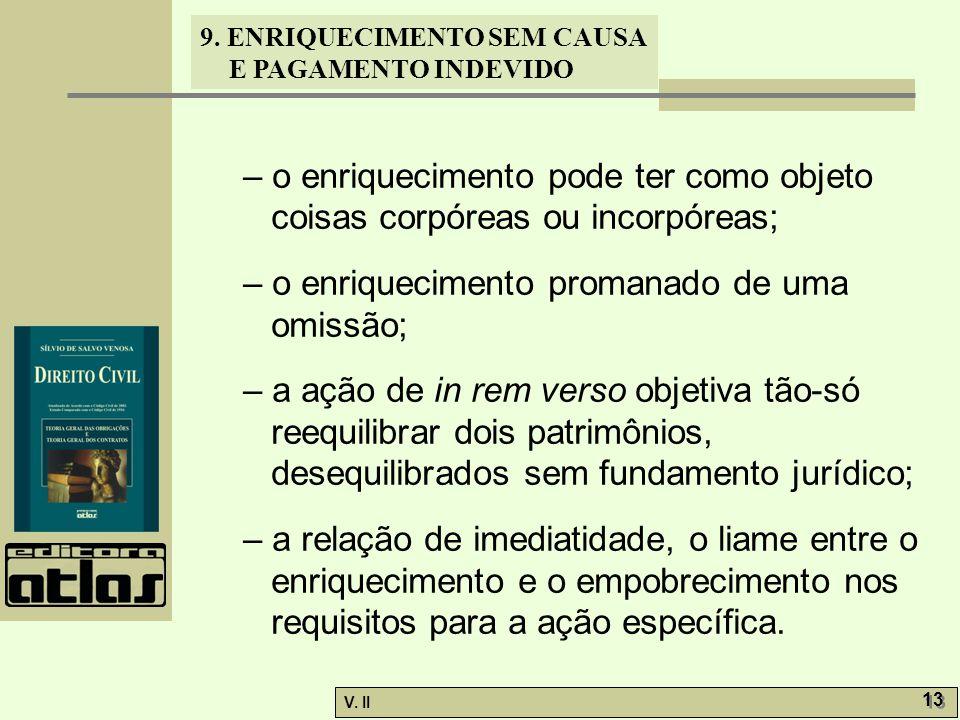 – o enriquecimento pode ter como objeto coisas corpóreas ou incorpóreas;